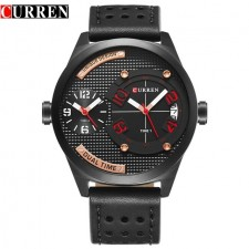 Curren 8252 Dual Time Men Dial Genuine Leather Strap Analog Watch w/Date