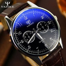 YAZOLE Vintage Leather Band Stainless Steel Business Military Quartz Men's Wrist Watch 311