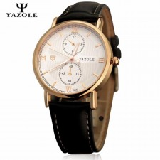 YAZOLE Classic Leather Band Stainless Steel Business Military Quartz Men's Wrist Watch