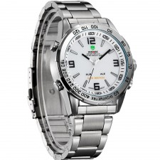 Weide WH1009 Dual Time LED Men's Watch White & Silver