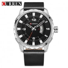Curren 8245 Men Black / Brown Dial Genuine Leather Strap Watch With Date