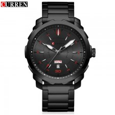 Curren 8266 Men's Stainless Steel Strap Watch with Day & Date Display