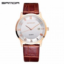 SANDA P188G Leather Brown Band Date Display Quartz Watch for Men (White Gold)