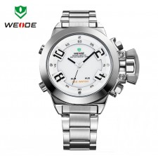 Weide Dual Time Led Wh1008 White Silver Sport Digital Analog