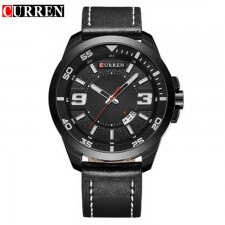 Curren 8213 Men Black/ White Dial Genuine Leather Strap Analog Watch With Date
