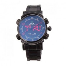 Weide WH1101 Dual Time Men's Watch Black & Red