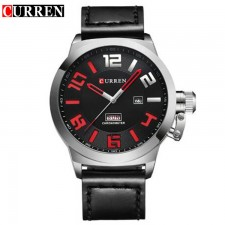 Curren 8270 Men Chronometer Dial Genuine Leather Watch with Date & Day