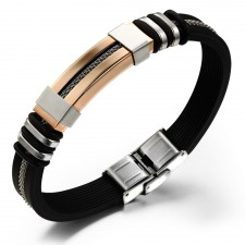 Youniq Silicone With Steel Line Bracelet For Men