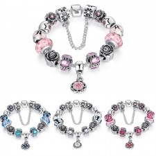 Bamoer 925s Silver Charm Bracelet With Safety Chain Rhinestone
