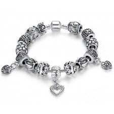 Bamoer 925s Silver Charm Bracelet With Antique Heart Jewellery