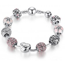 Bamoer 925s Silver Pink Charm Bracelet With Love & Flower Crystal Ball