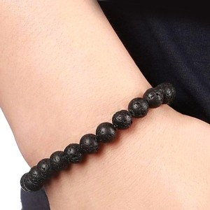 Youniq Natural Lava Stone Diffuser Healing Beaded Bracelet (Black)