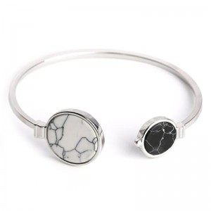 Youniq Basic Round Marble Cuff Bracelet Lining (Silver Black)