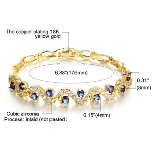 Youniq Crescent Cz Platinum Plated Silver/18k Gold Bracelet