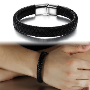 Youniq Titanium Steel Classic Black Weave Genuine Leather Bracelet For Men