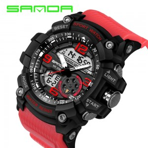 SANDA 759 G Style Military Sports Men's Shockproof Digital Watch - Black Red