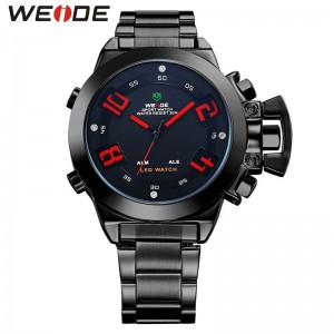 Weide Dual Time Led WH1008 Red Full Black Sport Digital Analog