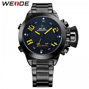 Weide Dual Time Led WH1008 Yellow Full Black Sport Digital Analog