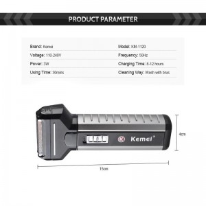 Kemei KM1120 3in1 Wireless Professional Rechargeable Trimmer Beard Nose Shaver Hair Clipper
