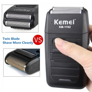 Kemei KM1102 Rechargeable Cordless Electric Dual Blades Floating Head Shaver