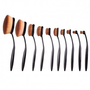 High Quality Professional Cosmetic Oval Curve Makeup Brush Set 10 Pcs