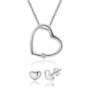 Youniq Simple Love 925s Silver Necklace Pendant With Cz & Earrings Set (Nss027)