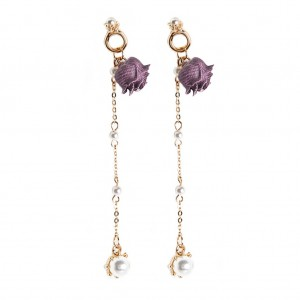 Youniq Basic Korean Little Pearl Rose Gold Lining Long Earring