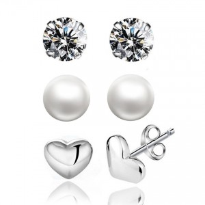 Youniq Basic Cz Pearl 925 Sterling Silver Earrings 3 In 1 Set (Silver)