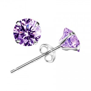 Youniq Basic Cz Purple 925 Sterling Silver Earrings