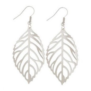 Youniq Basic Korean Twin Leaves Silver Hook Earrings