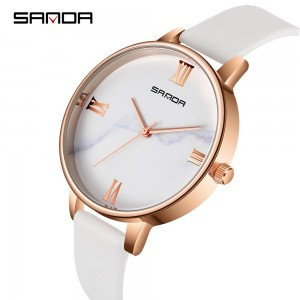 Sanda Luxury Genuine Leather Quartz Roman Marble Women Watch (Black/White) ZC226