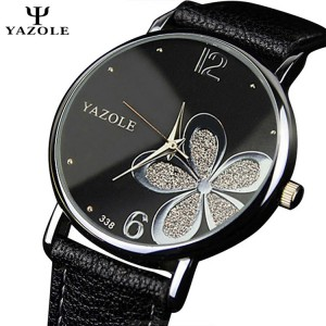 YAZOLE Purple Flower Pattern Round Dial Stainless Steel Strap Leather Watch For Women