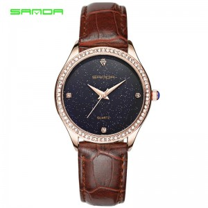 SANDA P214 Enchanted Genuine Leather Band Star Quartz Watch for Women
