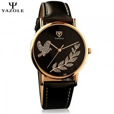 YAZOLE Crystal Pigeon Gold Flower Stainless Steel Leather Strap Watch for Women