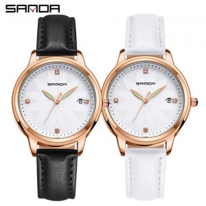 Sanda Genuine Leather Date Quartz Flower Diamond Women Watch (Black/White) P219