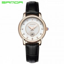 SANDA P198 Luxury Genuine Leather Band Date Diamond Women Watch