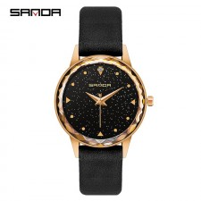 SANDA P229 Enchanted Genuine Leather Band Star Quartz Women Watch