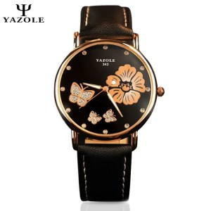YAZOLE Crystal Butterfly Gold Flower Stainless Steel Leather Strap Watch for Women