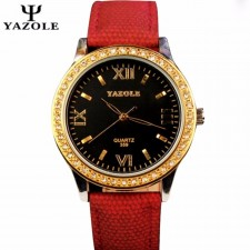 YAZOLE Gold Rhinestones Ladies Fashion Luxury Design Watch For Women