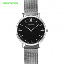 SANDA 208 Luxury Ultra Thin Stainless Steel Quartz Women Watch (Silver Black)