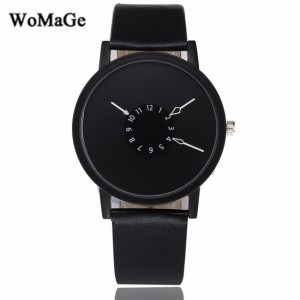 Womage Trendy Simple Leather Fashion Women's & Men's Unisex Watch (Black)