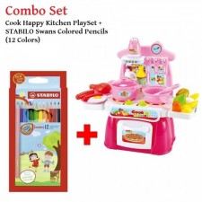 Cook Happy Kitchen PlaySet With Light and Sound+STABILO Swans Colored Pencils