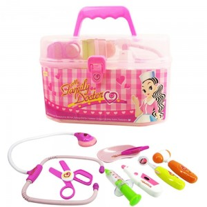 Family Doctor Medical Box Kit Playset For Kids Pretend Play Tools Toy Set