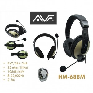 AVF HM688M Full Cover Wired Headphone with Mic - Gold Color
