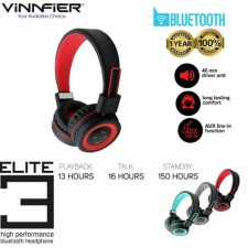 Vinnfier Elite 3 Wireless Bluetooth Headset Headphone Headband with MIcrophone Foldable