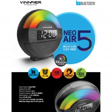 VINNFIER NEO AIR 5 BLUETOOTH PORTABLE SPEAKER DUAL ALARM,FM RADIO,USB,AUX IN