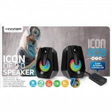 VINNFIER Icon 808BTR USB Powered Speaker with 7 Modes LED Lights Bluetooth FM Radio USB Card Slot Aux-Line in