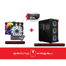 AVF Gaming Freak M870G Eros PREMIUM MIDDLE TOWER CASE WITH 3 RAINBOW FAN GFG-M870G CHASSIS CASING