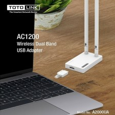 TOTOLINK A2000UA MU-MIMO 2 x 5dBi High Gain AC1200 USB 3.0 Wireless WiFi Adapter Dual Band 2.4GHz + 5GHz up to 1167Mbps