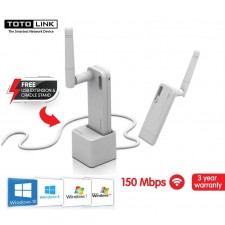 TOTOLINK Wireless N150UA 4DBi High Gain USB WiFi Adapter w USB Extension Cradle